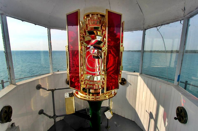 Lantern Room In Time For The 130th Anniversary Of Original Lighting Lighthouse Red Serves As A Symbol Harbor Beach