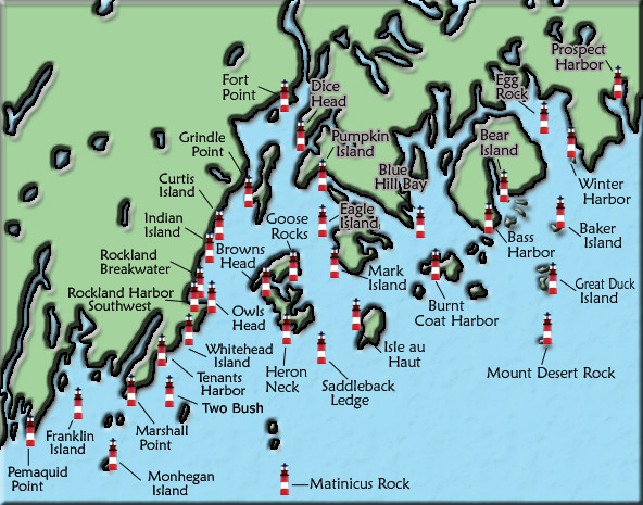 Acadia And Penobscot Bay Maine Lighthouse Map
