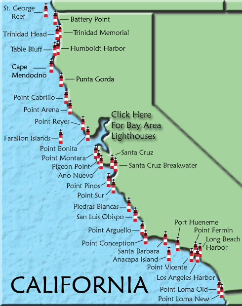 California map click on a lighthouse name or icon for more information on that lighthouse freerunsca Gallery