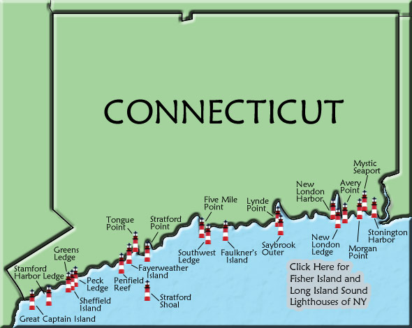 Connecticut Lighthouse Map