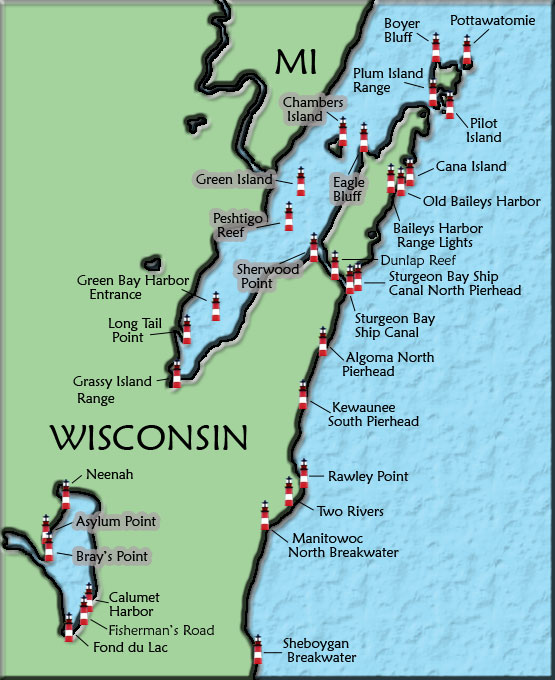Places To Visit On Lake Michigan In Wisconsin: Wisconsin Lighthouse Map