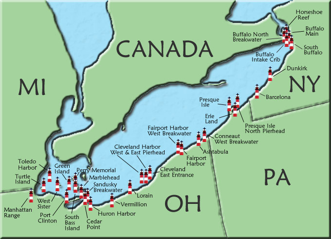 Lake Erie Map Lake Erie Lighthouse Map Lake Erie Map