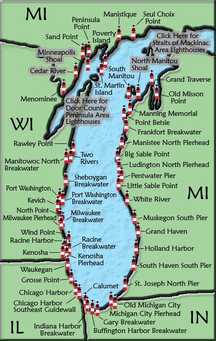 Michigan Lighthouses Map Lake Michigan Lighthouse Map Michigan Lighthouses Map