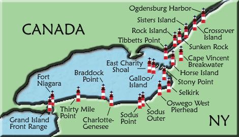 Lake Ontario Lighthouse Map