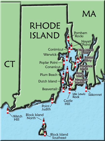 Rhode Island Lighthouse Map
