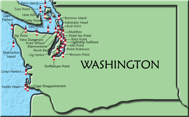 Washington map click on a lighthouse name or icon for more information on that lighthouse freerunsca Gallery