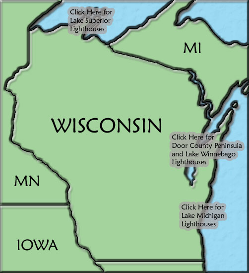 Wisconsin Lighthouse Map - Map Door Wi Us