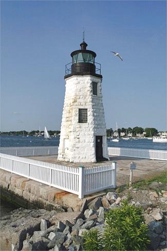 Goat Island Lighthouse At Sunset Stock Image - Image of ...  Goat Island Lighthouse