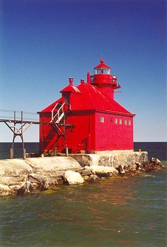 Sturgeon Bay Ship Canal Pierhead Lighthouse Wisconsin At